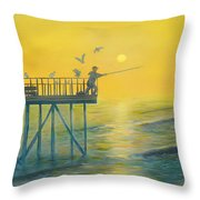 The Early Rod Takes The Cod Throw Pillow