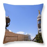 The Earthquake Memorial Statue And The Arch Of Neutrality In Ashgabat Turkmenistan Throw Pillow