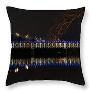The East Falls Bridge At Night - Philadelphia Throw Pillow