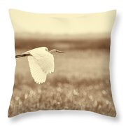The Egret In Flight Series V1 Throw Pillow