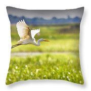 The Egret In Flight Series V3 Throw Pillow