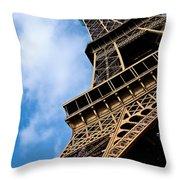 The Eiffel Tower From Below Throw Pillow by Nila Newsom