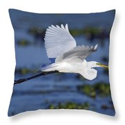 The Elegant Great Egret In Flight Throw Pillow
