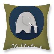 The Elephant Cute Portrait Throw Pillow