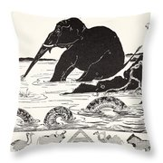 The Elephant's Child Having His Nose Pulled By The Crocodile Throw Pillow by Joseph Rudyard Kipling