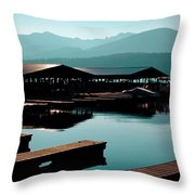 The Elkins Boathouse On Priest Lake Throw Pillow