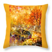 The Embassay Of Autumn - Palette Knife Oil Painting On Canvas By Leonid Afremov Throw Pillow