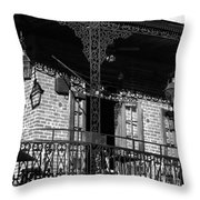 The Embers Bourbon House Restaurant In Black And White Throw Pillow