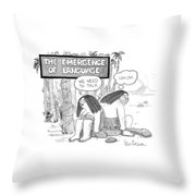The Emergence Of Language Cave Woman: 'we Need Throw Pillow