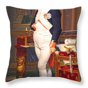 The Emperor Napoleon In His Study At The Tuileries By Jacques Louis David Throw Pillow