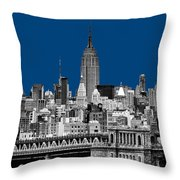 The Empire State Building Pantone Blue Throw Pillow by John Farnan