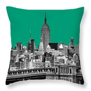The Empire State Building Pantone Emerald Throw Pillow