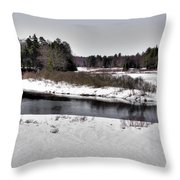 The End Of Winter On The Moose River Throw Pillow