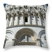 The Entrance To The Baptistery In Pisa  Throw Pillow