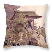 The Entrance To The Temple Of Kiyomizu Dera Kyoto Throw Pillow