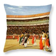 The Entry Of The Bull Throw Pillow