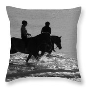 The Equestrians-silhouette V2 Throw Pillow