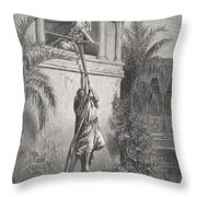 The Escape Of David Through The Window Throw Pillow by Gustave Dore