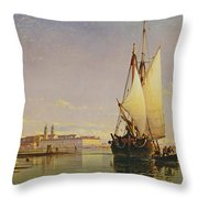 The Euganean Hills And The Laguna Of Venice - Trabaccola Waiting For The Tide Sunset Throw Pillow by Edward William Cooke