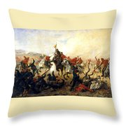 The Event At The Village Telishe Throw Pillow by Victor Mazurovsky