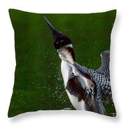 The Ever Elusive Loon Coming Out Of Dive Throw Pillow