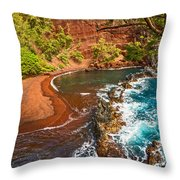 The Exotic And Stunning Red Sand Beach On Maui Throw Pillow