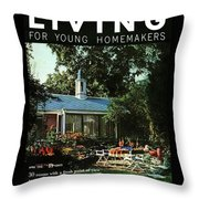 The Exterior Of A House And Patio Furniture Throw Pillow by Nowell Ward