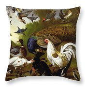 The Fable Of The Raven With A Peacock, Cockerel, Woodpecker, Jay, Woodcock, And Magpie Throw Pillow