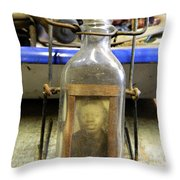 The Face In The Bottle  Throw Pillow