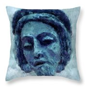 The Face Of Blue Throw Pillow