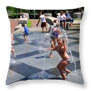 Joyful Young Girl Playing In Fountain Throw Pillow