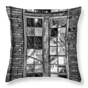 The Factory Window Bw Throw Pillow
