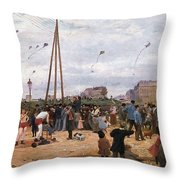 The Fairgrounds At Porte De Clignancourt Paris Throw Pillow