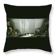The Fairy Village Throw Pillow