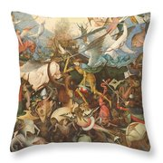 The Fall Of The Rebel Angels, 1562 Oil On Panel Throw Pillow