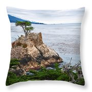 The Famous Lone Cypress Tree At Pebble Beach In Monterey California Throw Pillow