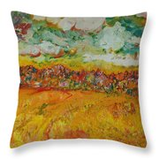 The Farmland Oil On Canvas Throw Pillow