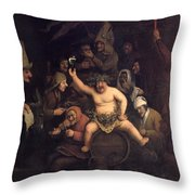 The Feast Of Bacchus, 1654 Throw Pillow