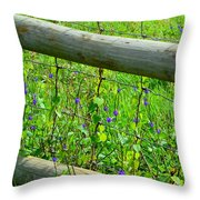 The Fence At The Meadow Throw Pillow