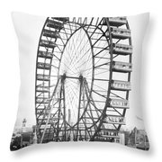 The Ferris Wheel At The Worlds Columbian Exposition Of 1893 In Chicago Bw Photo Throw Pillow