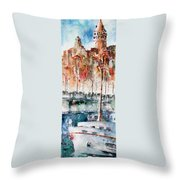 The Ferry Arrives At Galata Port - Istanbul Throw Pillow