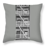 The Fire Escape In Black And White Throw Pillow