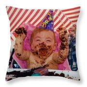 The First Birthday Cake Throw Pillow