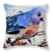 The First Bluebird Throw Pillow