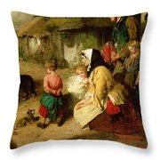 The First Break In The Family Throw Pillow by Thomas Faed