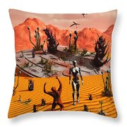 The First Man, Adam, Greeting An Alien Throw Pillow