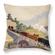 The First Paris To Rouen Railway, Copy Throw Pillow by French School