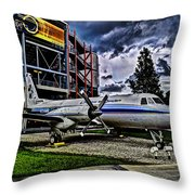 The First Plane Throw Pillow by Ryan Crane