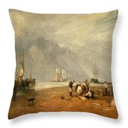 The Fish Market At Hastings Beach Throw Pillow