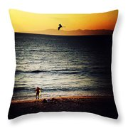The Fisherman And His Shadow Throw Pillow